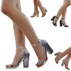 Womens Strappy Glitter Heel Sandals Ladies Peep Toe Ankle Strap Party Prom Shoes