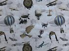 Flying Planes Machines Design Cotton Fabric Upholstery Curtains Blinds Quilting