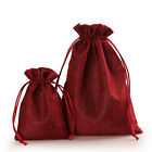 Red wine Handmade Cotton linen Draw String Storage Bag Candy Gift Bag