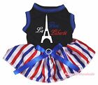 Vive la liberté Tower Bastille Day Black Top RWB Striped Pet Dog Puppy Cat Dress