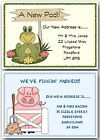 Personalised Frog / Pig, New Home Change of Address or House Moving Cards x 10
