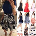 WOMENS DRESS LADIES STRIPE  BOW SWING SKATER FLARED PRINTED SHORT PARTY DRESS