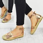 Womens Ladies Flat Espadrilles Rose Gold Sandals Ankle Strappy Summer Shoes Size