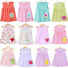 Girls Infant Floral Sleeveless Vest Top Dress Summer Baby Cotton Dress 0-2 Y