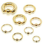 Gold Plated Over 316L Surgical Steel Captive Bead Ring with Dimple Ball
