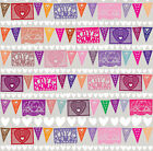 Festive Valentines Bunting Flag Love Hearts Fabric Printed by Spoonflower BTY