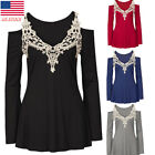 US Women Lace Casual Cold Shoulder Long Sleeve Tops Blouse Tee Shirt Plus Size