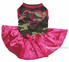 Valentine Be Mine Heart Camouflage Top Hot Pink Satin Pet Dog Puppy Cat Dress