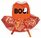 Halloween BOO Ghost Orange Cotton Top White Dot Tutu Pet Dog Puppy Cat Dress Bow