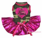 Free Kisses Heart Camouflage Top Bling Hot Pink Tutu Pet Dog Puppy Cat Dress Bow