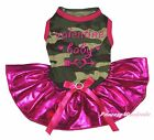 Valentine Baby Heart Camouflage Top Bling Hot Pink Tutu Pet Dog Puppy Cat Dress