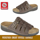 MENS OPEN TOE SLIP ON MULES COMFORT FAUX LEATHER FLIP FLOP BUCKLE SANDALS SIZE