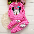 2PCS Baby Girls Minnie Mouse Cratoon Tracksuit Jumper Tops Pants Kids Outfit Set