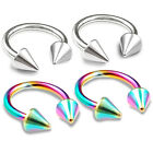 4pcs 16g Septum Circular Barbell Eyebrow Cartilage Belly Helix Rainbow Spike 368