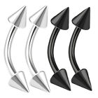 4pcs 16g Curved Barbell Cartilage Tragus Eyebrow Helix Black Labret Spike 410