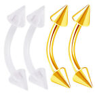 4pcs 16g Curved Barbell Cartilage Tragus Eyebrow Anodized Flexible Spike 419