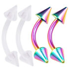 4pcs 16g Curved Barbell Lobe Eyebrow Conch Rook Daith Rainbow Steel Spike 424