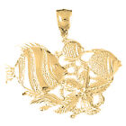 18K Gold Tropical Fish And Coral Pendant (Yellow or White Gold) - AZ704-18K