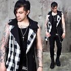NewStylish Mens Fashion Tops Checkered Contrast Belted Cotton Rider Vest