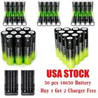 100PC 18650 3.7V 5800mAh Rechargeable Li-ion Battery+Charger For Flashlight C08