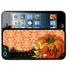 PERSONALIZED RUBBER CASE FOR iPHONE 7 6S 6 SE 5 5S 5C PLUS PUMPKIN FALL LACE