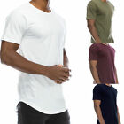 Men's T-Shirt Lot Long Extended Casual Fashion T-Shirt Basic Crew Neck Hip Hop w