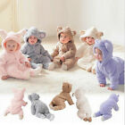 Baby - Newborn Infant Boys Girls Hooded Romper Jumpsuit Bodysuit Fleece Outfits Clothes
