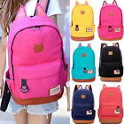 Womens Girls Cat Ear Canvas Group Backpack Shoulder Book Bags Travel Rucksack