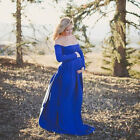Maternity Women Off Shoulder Maxi Dress Pageant Cotton Long Sleeve Photo Props