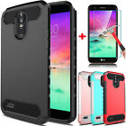 For LG Stylo 3 Plus Hybrid Carbon Fiber Shockproof Case + Glass Screen Protector