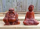 Fair Trade Hand Made Carved Wooden Laughing Chinese Thai Buddha Ornament Statue