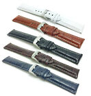 18-30mm Leather Watch Band Strap, white stitching, Alligator style, 5 colors  image