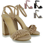 Womens Ankle Strap Shoes Block High Heel Ladies Frill Peep Toe Sandals Size 3-8