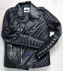 New Mens Leather Jacket Black Slim Fit Biker Motorcycle Genuine Lambskin Quilted