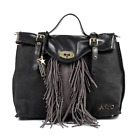 ANDREW CHARLES WOMENS HANDBAG LEATHER & SUEDE BLACK LUCY NWT FR/SH