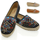Womens Flat Slip On Espadrilles Embroidered Stud Ladies Casual Pumps Shoes Size