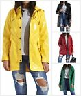 New Womens Buttoned Hooded Glossy Shiny Lightweight Fashion Rain Mac Coat