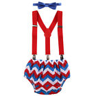 Baby Boys 1st Birthday Cake Smash Outfit Bow Tie Suspenders Pants Photo Prop Set