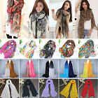 Fashion Women Long Soft Cotton Chiffon Scarf Wrap Shawl Floral Stole Scarves