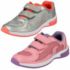 Girls Clarks Piper Chat Inf Silver Or Pink Leather Riptape Trainers With Lights