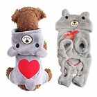 Pet Puppy Dog Cat Red Love Heart Bear Hoodie Winter Warm Clothes Jumpsuit Coat