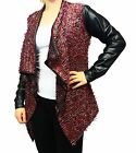 Plum Fluffy waterfall jacket with wet look sleeves