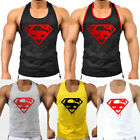 Men's Superman Stringer Tank Top Vintage Blood Gym Bodybuilding Sport Shirts