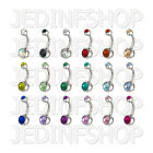Navel Belly Bar - 1.6mm (14g) - 6mm 8mm 10mm 12mm - Double Gem - Stainless Steel