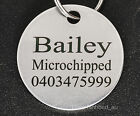 Stainless Steel Circle Pet Tag Engraved & Ring Dog Cat Name  Personalised Custom