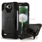 LG X Power 2/ X Charge/ Fiesta/ K10 Power Black Hybrid Shell Hard+Skin Cover