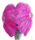 "A pair of hot pink single layer Ostrich Feather Fan 24""x 41"" with packaging"