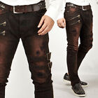 NewStylish Mens Pants Extreme Vintage Double Belt Accent Grunge Wine Slim Jeans
