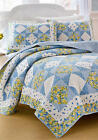 LAURA ASHLEY GRACE FLORAL KING or FULL/QUEEN QUILT ~ BLUE YELLOW PATCHWORK