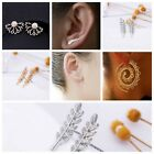 US New Womens Fashion Gold Silver Black Long leave Ear Threader Earrings Jewelry
